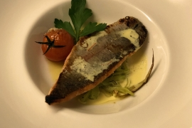 Red trout on sauteed leek